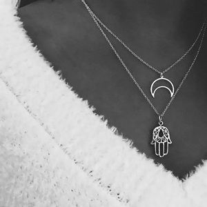 Jewelry - 5/$25 Silver Hamsa Hollow Moon Crescent Necklace